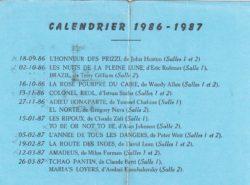 Verso d'un abonnement de la saison 1986-1987 (calendrier)